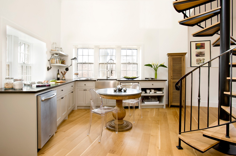 Brookline ma carriage house restoration for Carriage house kitchen cabinets
