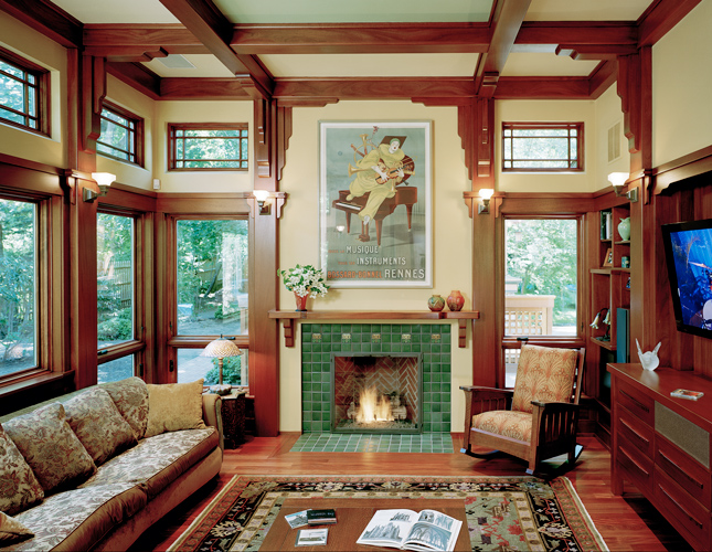 Family room additions using arts and crafts style by for Arts and crafts style interiors