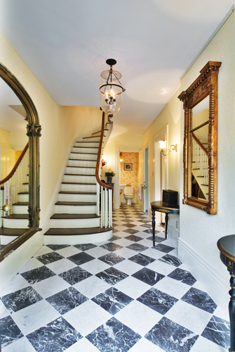 Front foyer Greek Revival historic restoration
