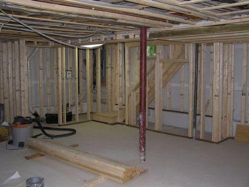 Basement renovation framing