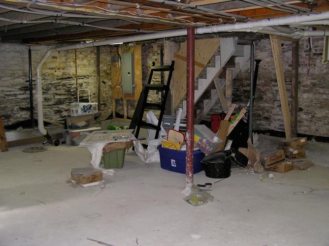 Basement renovation before