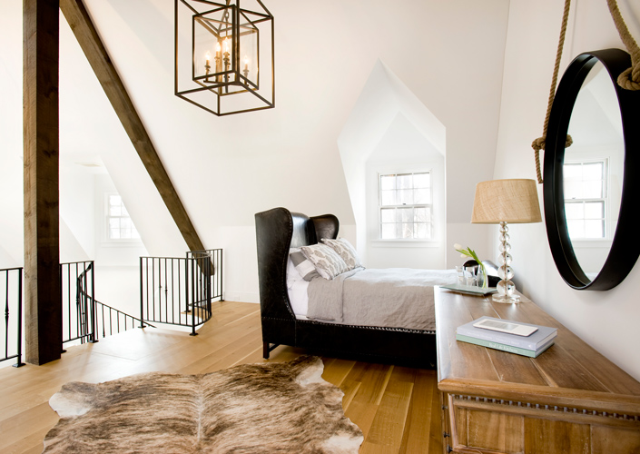 Carriage house restoration bedroom
